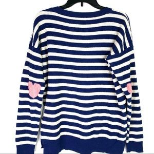 Wallace | Striped Waffle Knit Heart Sweater Large